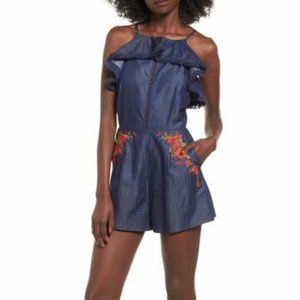 Anthro Moon River Floral Embroidered Romper